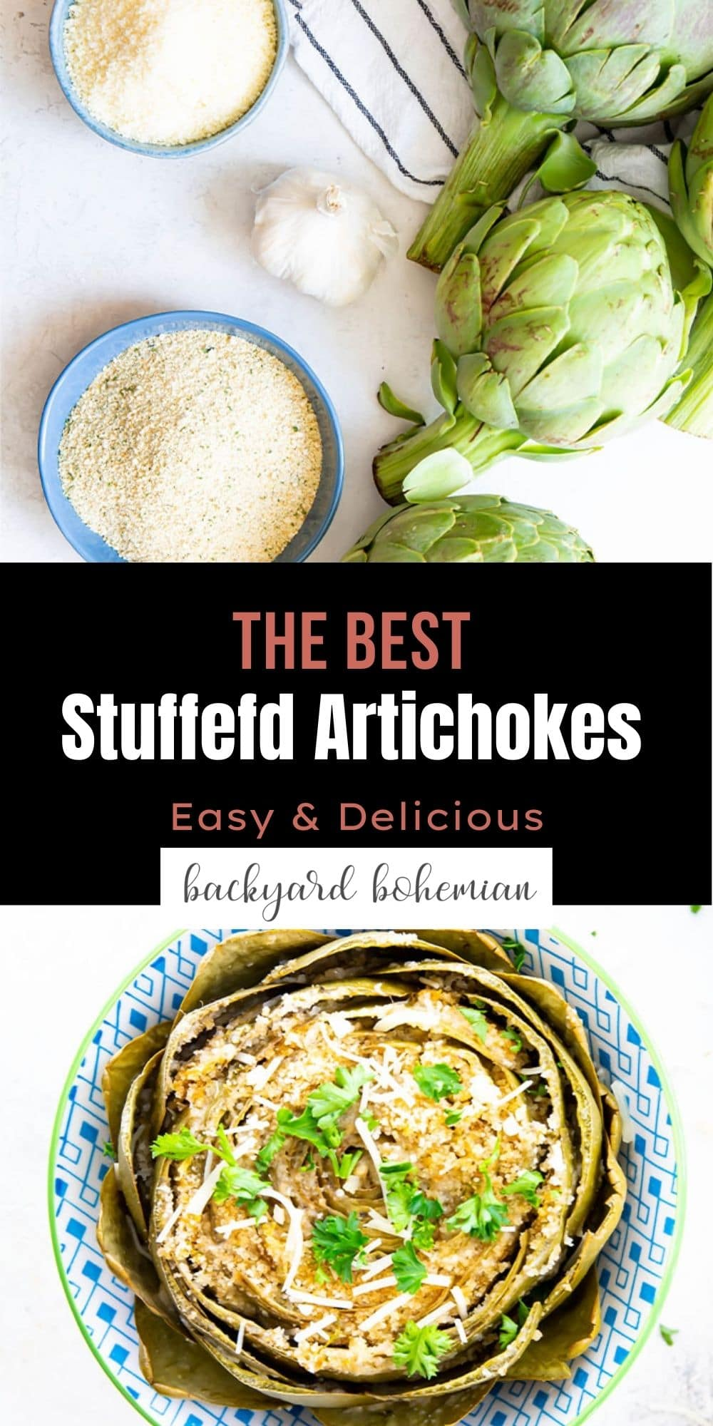 Italian stuffed artichokes are made with simple, healthy ingredients and are ready in under 1 hour. These stuffed artichokes can be made on the stovetop or the Instant Pot! via @foodhussy
