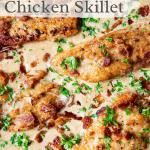 Creamy Bacon Chicken Skillet Pinterest graphic.