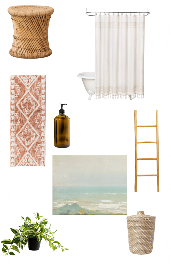 The bathroom will be furnished with a rattan stool, a white shower curtain, a towel ladder, and plants.