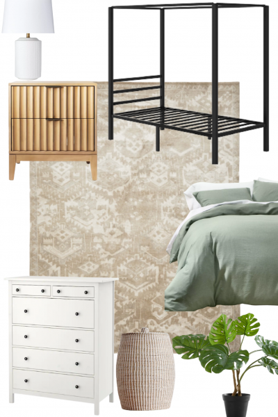 The bedroom has a four poster metal frame bed, a white dresser, and a wooden night stand table.